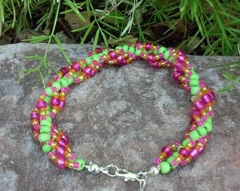 Green, Pink & Yellow Spiral Beaded Bracelet