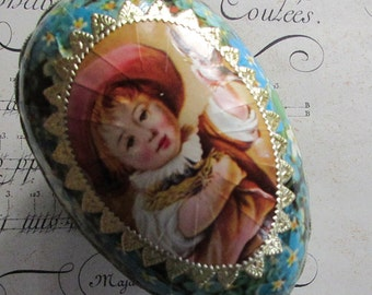 Paper Mache Egg Uncommon Vintage German Forget Me Nots Easter Egg Box 4-1/4 Inch Dresden Trims