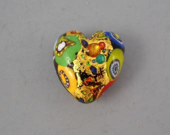 Lampworked Artisan Glass Mosaic Multicolored Heart Shaped Bead with Gold Leaf, Murano Canes, and Baubles #1