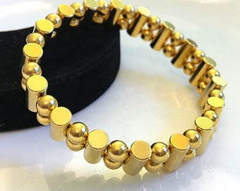 SALE! Mens Gold Sport Magnetic Therapy No-Clasp Bracelet