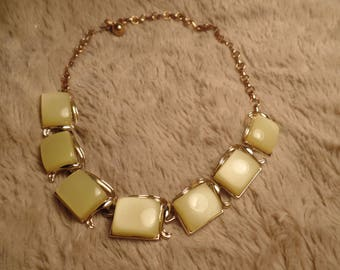 1950's Thermoplastic Necklace with Pale Yellow Pieces.