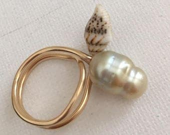 Doubled Coiled Pearl/Sea Shell Ring