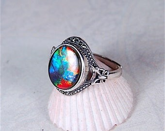 Ammolite Ring--grade AA quality for those that love butterflies.In your size too!