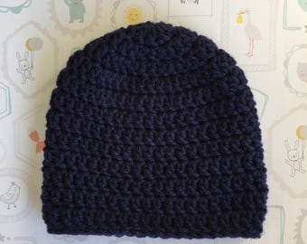Navy Blue Baby Hat ,Free Shipping  Pick a Size  0 - 12 month, boy or girl baby hat,   baby gift Crochet  baby beanie, infant hat,
