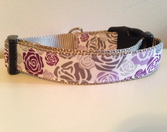 1 inch Purple and Gray Roses Floral  Dog Collar on Silver Nylon