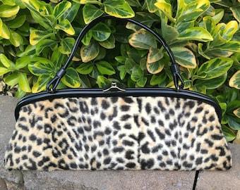 X-Long Vintage 50's FAUX LEOPARD Print Handbag, 1950's Fuzzy Fake Fur Purse, So ROCKABILLY!!