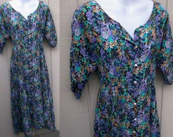 Vintage 90s Grunge Black and Lavender Floral Gauze Dress / Empire Midi Maxi Tent Dress / Crinkle Gauze // Sz Med - Lge