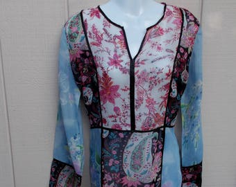 Vintage 90s Mismatch Paisley Floral Sheer Tunic - Sequin Embroidered - by CLIO / Boho Hippie Patchwork Gypsy Blouse // Sz Sml