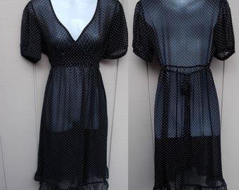 90s Vintage Sheer Black Polka Dot Tie-Back Empire Waist Dress // Sz Sml - Med