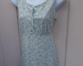90s Vintage Spring FLORAL Tie-Back Empire Dress // Size Sml - Med