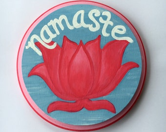 NAMASTE Hand Painted Sign Yoga Teacher Wall Hanging