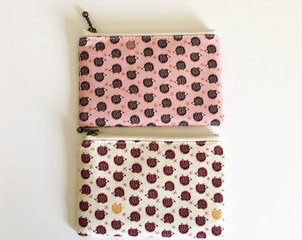 Mini zipper pouch  -hedgehog parade available in pink and ivory
