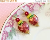 Clearance SALE. Strawberry Earrings, Cloisonne Earrings, Red Fruit Earrings, Whimsical Drop Earrings, Metal Strawberry Earrings, Handmade By