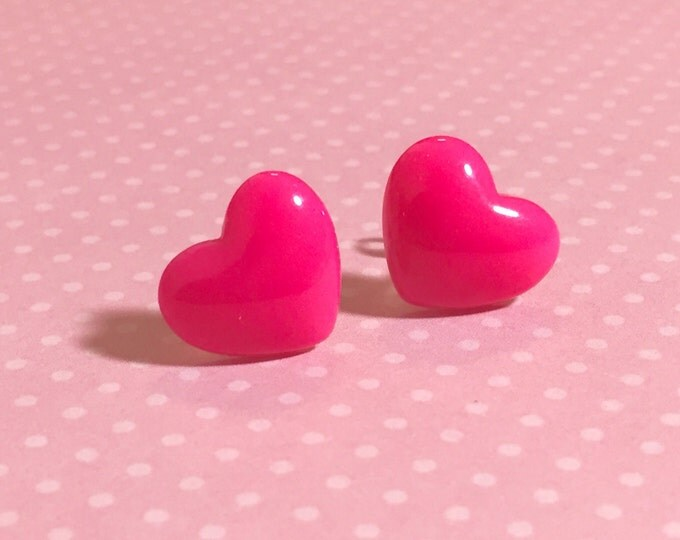 Featured listing image: Bright Pink Heart Studs, Surgical Steel Posts, Sensitive Ears, Valentine's Day Earrings (SE10)