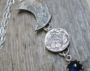 The Moon in the Sky necklace ... recycled fine silver / crescent moon / full moon / sapphire