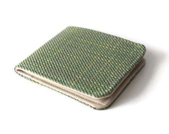 Mens Thin Wallet / Green Plaid Vegan Tweed / Minimalist