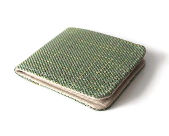 Mens Thin Billfold Wallet / Green Plaid Vegan Tweed / Minimalist