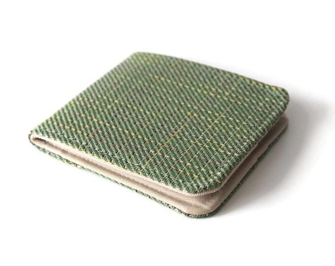 Mens Wallet / Green Plaid Vegan Tweed