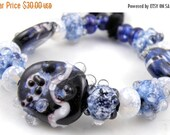 Boxing Week Sale Galaxies Mixed Set - Handmade Artisan Lampwork Glass Beads 18mmx5mm - Blue, Black, White, Sparkle - SRA (Set of 18 Beads)