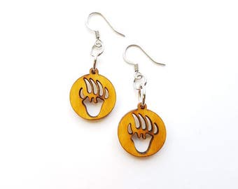 Wood Bear Paw Earrings