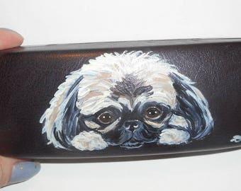 Pekingese Dog Hand Painted Eyeglass Case Vegan