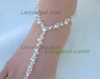 TLR37 Ladybead Swarovski Crystal Barefoot Sandals Bling