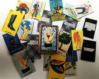 Miniature matchbox book, loteria pages, tiny book, good luck, handmade mini book, loteria, quotes, art book,ooak book,matchbox,matchbox book