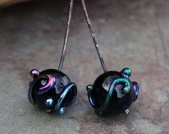 Black Scroll - Handmade Lampwork Glass HeadPins, Round Head pins - SRA Elasia MTO