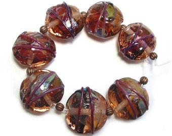 Amber Rose Raku Shards, SRA  Handmade Glass Lampwork  Beads