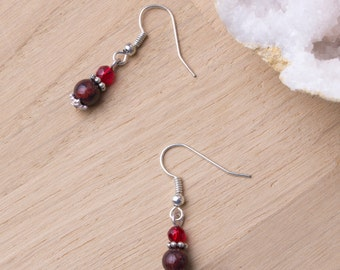 Mahogany Jasper Earrings | Gemstone earrings with red beads and Tibetan silver | Jasper jewellery | Mahogany stone small dangle earrings