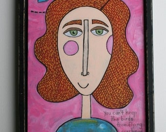 folk art, original art, strong women, redhead, birds