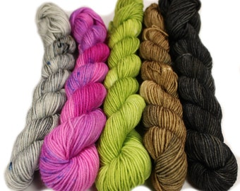 Holy Frijoles - Hobbledehoy Hand-dyed mini fingering weight skeins - 450 yards, 120 gm