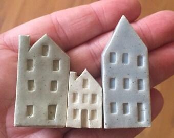 Tiny Ceramic Miniature House Celadon Trio -  Ready to Ship