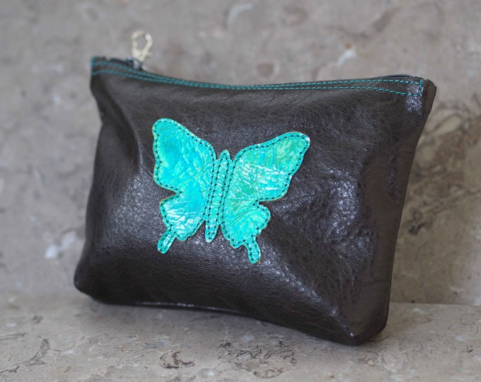 Halographic Green Butterfly Leather Pouch