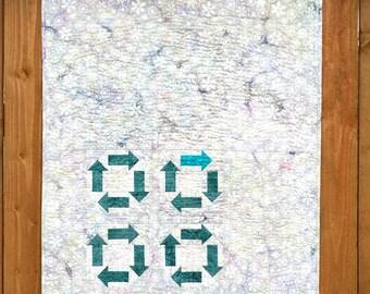 Modern Quilt, Small Wallhanging, Contemporary Quit, Snowflake quilt, Arrow Quit, Modern Home Decor, Batik Quilt