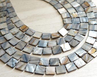 Tegan - Gray Mother of Pearl Statement Necklace