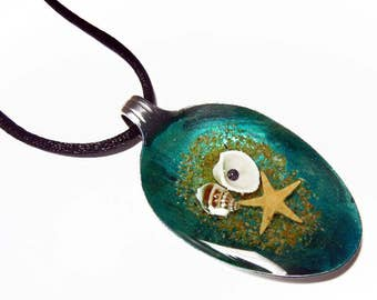 Resin Spoon Pendant - Shells on a Beach -  Altered Art Necklace 3