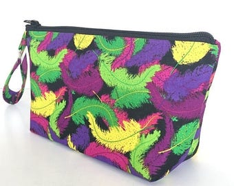 FINAL MARKDOWN Wristlet, makeup bag, cosmetics bag, zipper pouch, Mardi Gras, feathers, gift for women, small purse,