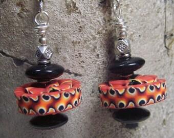 Swirling Fire Stacker Bead Earrings- Handmade Polymer Clay