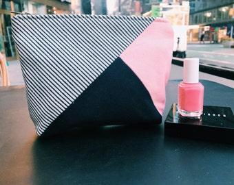 Canvas Makeup Bag, Cosmetic Bag, Zipper Pouch, Cosmetic Case, Makeup Case, Blue Make up Bag