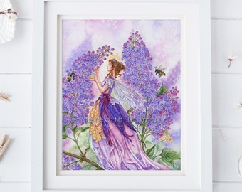 Lilac Flower Fairy art print, Lilac flower, Honey Bees, Spring flowers, fairy poster, fantasy print, 8x10,