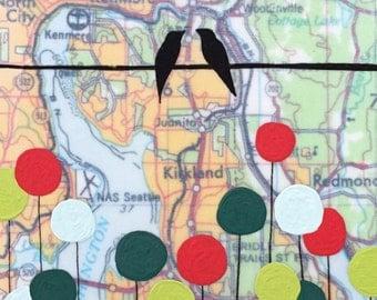 Lake Washington / 5 x 7 Map Painting / Love Bird Art / Map Art / Modern Decor / NW Art / Circle Art / Rachel Austin / Travel Art
