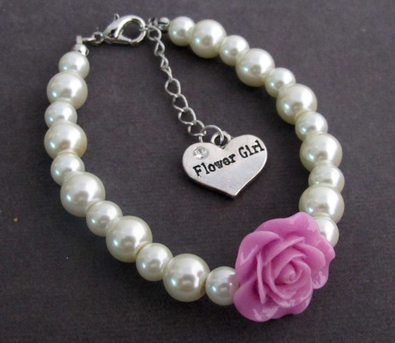 Flower Girl Charm Bracelet, Flower Girl Jewelry, Will You Be My Flower Girl Gift,Child Pearl Bracelet, Ask Flower Girl, Free Shipping In USA
