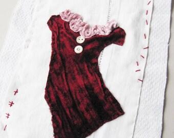 Small art quilt, Red Velvet Dress