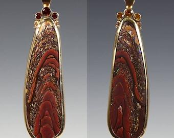 Koroit Boulder Opal Necklace. Reversible Pendant. 14K Yellow Gold. Golden Citrine. Fire Citrine. Genuine Gemstones. One of a Kind. s16p007