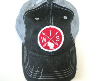Distressed Trucker Hats - Wisconsin Patch Arrow Compass White and Red on Gray hat