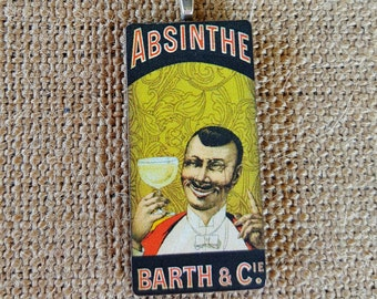 Absithe Poster Art Pendant Necklace handmade wood pendant handmade jewelry absynthe necklace booze hound illegal substances