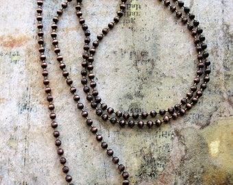 20 or 30 inch Antiqued Copper Ball Chain Necklace