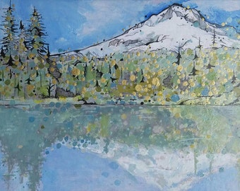 Matted Mirror Lake Mount Hood Oregon Original giclee print