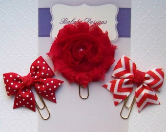 Red Flower, Bows Planner Clips, Bookmark, Planner Accessory, Paper Clip